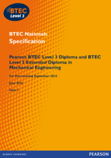 BTEC Level 3 Mechanical Engineering specification