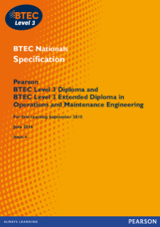 BTEC Level 3 Operations and Maintenance Engineering specification