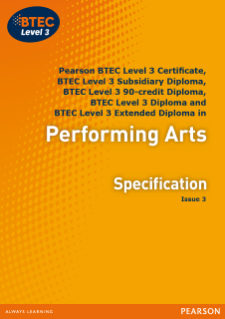 BTEC Level 3 Performing Arts specification