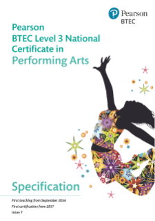 BTEC Level 3 Nationals Certificate in Performing Arts specification