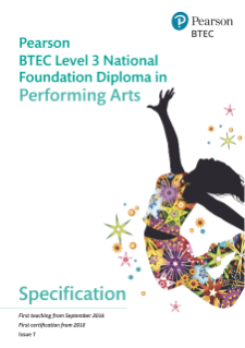 BTEC Level 3 Nationals Foundation Diploma in Performing Arts specification