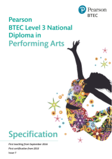 BTEC Level 3 Nationals Diploma in Performing Arts specification