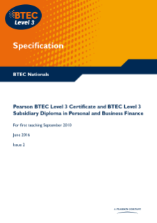 BTEC Level 3 Personal and Business Finance specification