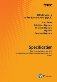 BTEC Level 3 Production Arts specification