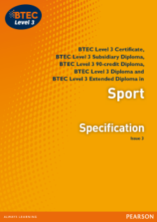 BTEC Level 3 Sport specification