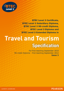 BTEC Level 3 Travel and Tourism specification