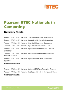 BTEC Nationals | Computing (2016) | Pearson qualifications