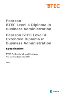 BTEC Level 4 Professional Diploma and Extended Diploma in Business Administration specification
