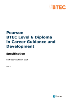 BTEC Level 6 Diploma in Career Guidance and Development specification