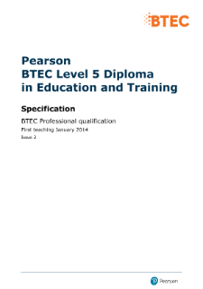 BTEC Level 5 Diploma Education and Training specification