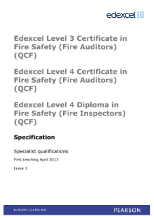 Pearson Edexcel Level 3 Certificate in Fire Safety (Fire Auditors) specification