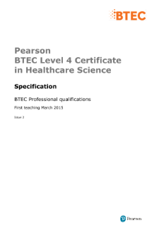 BTEC Level 4 Certificate in Healthcare Science specification