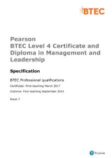 Pearson BTEC Level 4 Certificate and Diploma in Management and Leadership