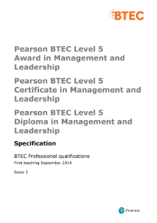 Pearson BTEC Level 5 Award in Management and Leadership specification