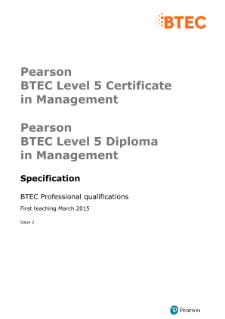 Pearson BTEC Level 5 Certificate in Management