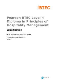 BTEC Level 4 Diploma in Principles of Hospitality Management specification