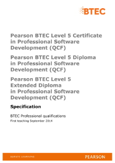 BTEC Level 5 Extended Diploma in Professional Software Development specification