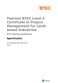 BTEC Level 4 Certificate in Project Management for Land-based Industries