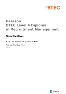 BTEC Level 4 Diploma in Recruitment Management specification