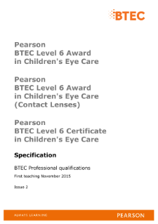 BTEC Level 4 Certificate in Optical Dispensing specification
