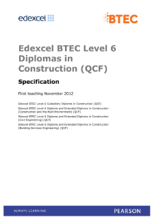 BTEC Level 6 Diploma in Construction (Building Services Engineering) specification