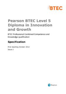 BTEC Level 5 Diploma in Innovation and Growth specification
