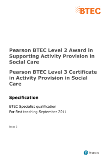 BTEC Level 2 Award in Supporting Activity Provision in Social Care specification