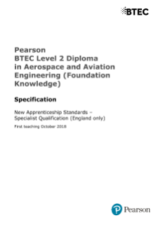 BTEC Level 2 Diploma in Aerospace and Aviation Engineering (Foundation Knowledge)