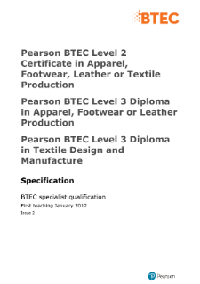 BTEC Level 3 Diploma in Apparel, Footwear, Leather or Textile Production specification