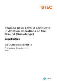 BTEC Level 2 certificate in Aviation Operations on the Ground (Knowledge) specification