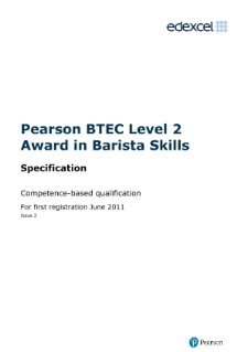 BTEC Level 2 Award in Barista Skills specification