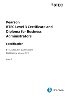 Pearson BTEC Level 3 Certificate & Diploma for Business Administrators