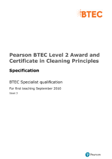 BTEC Level 2 Award in Cleaning Principles (Food Areas) specification