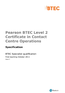BTEC Level 2 Certificate in Contact Centre Operations specification