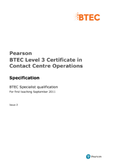 BTEC Level 3 Certificate in Contact Centre Operations specification
