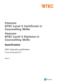 BTEC Level 3 Counselling Skills specification