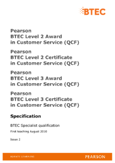 btec level 2 customer service specification
