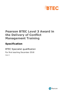 BTEC Level 3 Award in Delivery of Conflict Management Training specification