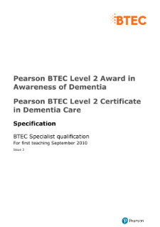 BTEC Level 2 Award in Awareness of Dementia specification