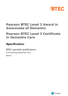 BTEC Level 3 Certificate in Dementia Care specification