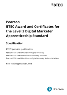 BTEC Award and Certificates for Level 3 Digital Marketer Apprenticeship Specification