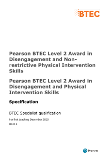 BTEC Level 2 Award in Disengagement and Physical Intervention Skills specification