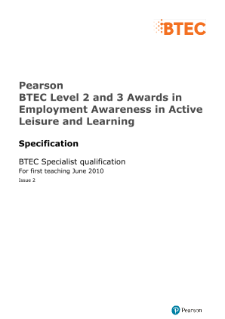 BTEC Level 2 Award in Employment Awareness in Active Leisure and Learning specification