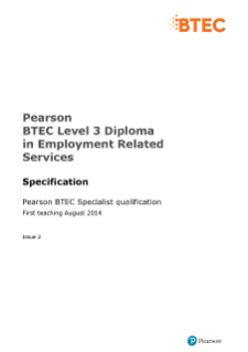 BTEC Level 3 Diploma in Employment Related Services specification