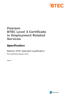 BTEC Level 3 Certificate in Employment Related Services specification