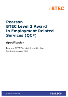 BTEC Level 3 Award in Employment Related Services specification