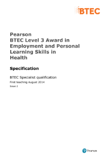 BTEC Level 3 Award in Employment and Personal Learning Skills in Health specification