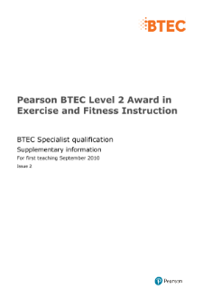 BTEC Level 2 Award in Exercise and Fitness Instruction specification