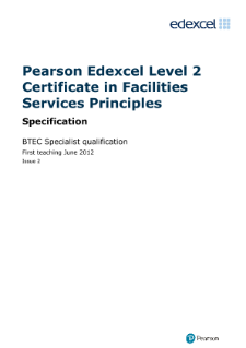 BTEC Level 2 Certificate in Facilities Services Principles specification