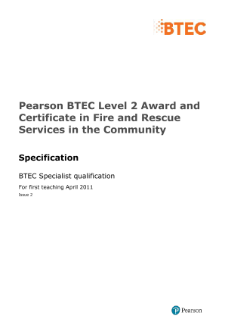 BTEC Level 2 Fire and Rescue Services in the Community specification